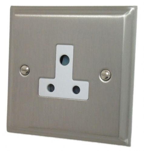 G&H DSN59W Deco Plate Satin Nickel 1 Gang Single 5 Amp Plug Socket